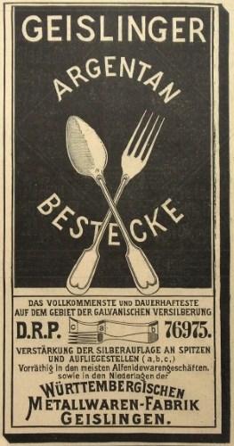 WMF Werbung von ca. 1898
